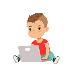 Cute little boy character using laptop while vector