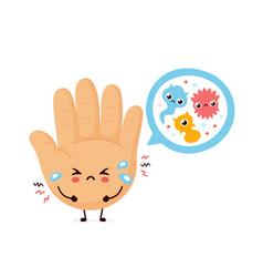 Cute sad human hand and microscopic bacterias vector