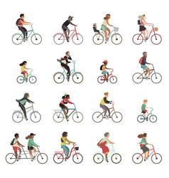 cyclists set happy people riding bicycle family vector image