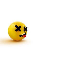 Dead face emoji cross eyes emoticon 3d rendering vector