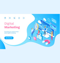 Digital marketing people working with infographics vector