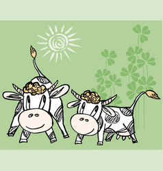 drawn funny cartoon bull and cow vector image