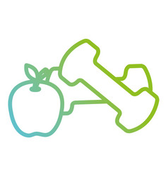 Dumbell gym accessory with apple vector