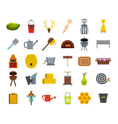 farm elements icon set flat style vector image