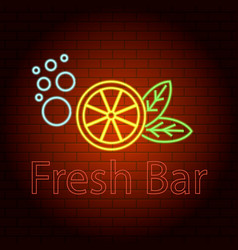 fresh bar logo neon light icon realistic style vector image
