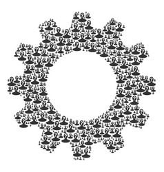 Gearwheel collage of unknown person icons vector