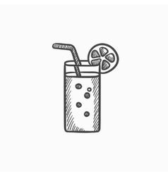 Glass with drinking straw sketch icon vector image
