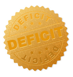 Gold deficit medallion stamp vector
