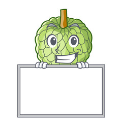 grinning with board sugar apple fruit isolated on vector image