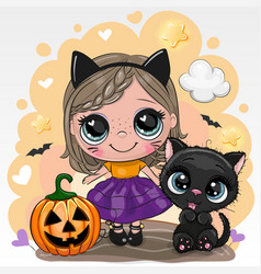 Halloween card with girl and black cat on a vector