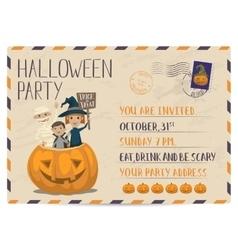 Halloween party vintage postcard invitation vector