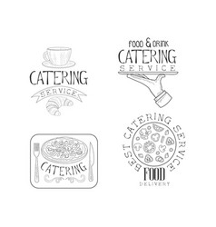 hand drawn design of 4 catering service vector image