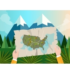 hand holding map america tracking hunting in vector image