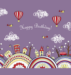 happy birthday card with doodle city seamless vector image