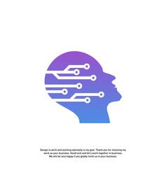head tech logo concept brain robotic logo vector image