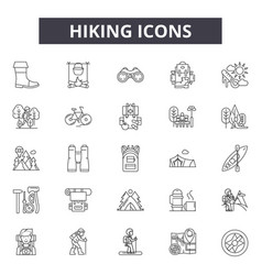hiking line icons signs set outline vector image