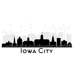 Iowa city skyline black and white silhouette vector