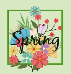 Lettering spring time on background with spring vector
