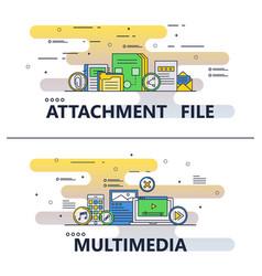 Line art file attachment multimedia vector