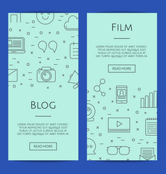 line blog icons web banner templates vector image