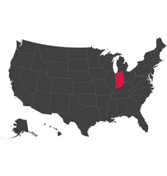 Map of usa - indiana vector