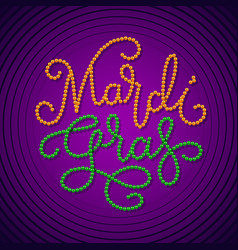 mardi gras lettering consist of gold green beads vector image
