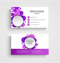 Modern violet round business card template vector