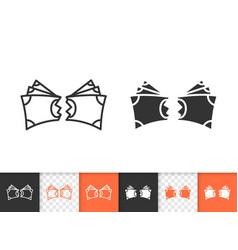 money torn simple black line icon vector image