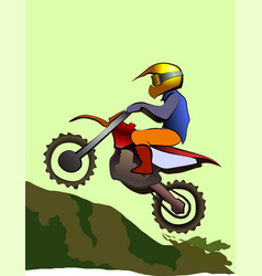 motorcycle rider up to hill enduro offroad vector image
