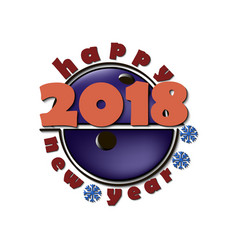 New year 2018 and bowling ball vector