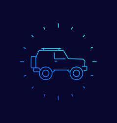 Off-road car 4wd suv linear icon vector