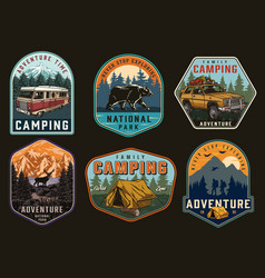 outdoor recreation vintage badges vector image