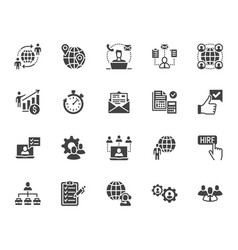 Outsource flat glyph icons set recruitment vector