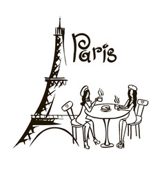 Paris bistro hand drawn vector