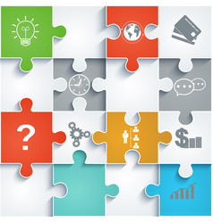 Parts of paper puzzles with icons business concept vector
