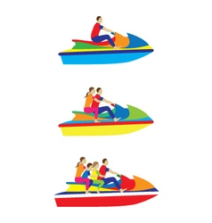 People family on a jet ski Water sports vector