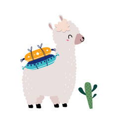 Pretty wolly llama or alpaca carrying pillows on vector