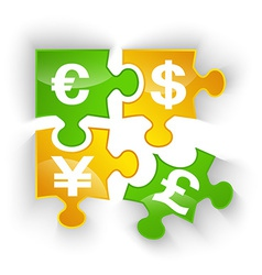 puzzle currency pieces vector image
