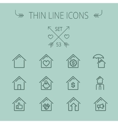 Real Estate thin line icon set vector
