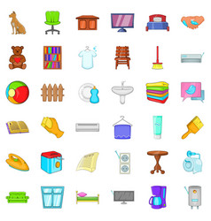 Rest house icons set cartoon style vector