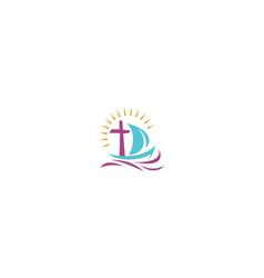 sailing ship cross religious logo icon vector image