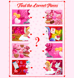 saint valentine day find correct piece puzzle game vector image