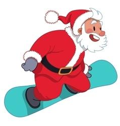 Santa claus on snowboard vector