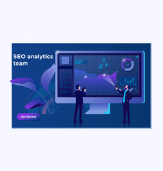 Seo analytics team landing page modern flat vector
