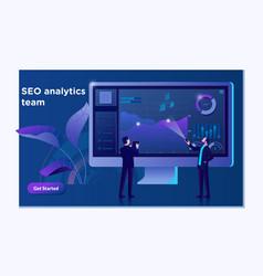 seo analytics team landing page modern flat vector image