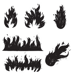 set hand drawn fire and fireball doodle sketch vector image