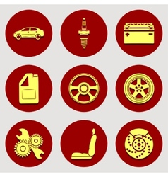 Set of icons auto parts Flat design vector image