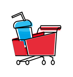 Shopping cart with bottle beverage vector