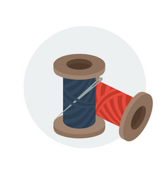 spools of sewing thread with needle vector image