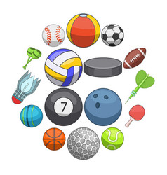sport balls icons set cartoon style vector image